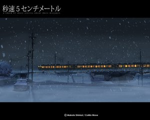 Rating: Safe Score: 37 Tags: byousoku_5_centimetre car night nobody shinkai_makoto sky snow train winter User: Oyashiro-sama