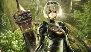 Rating: Safe Score: 60 Tags: blindfold breasts cleavage dress gray_hair headband nier nier:_automata short_hair sword tagme_(artist) tree weapon yorha_unit_no._2_type_b User: BattlequeenYume