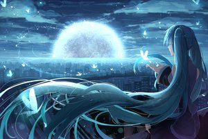 Rating: Safe Score: 71 Tags: aqua_hair butterfly city clouds hatsune_miku long_hair night phino_(jinko0094) thighhighs twintails vocaloid User: Flandre93