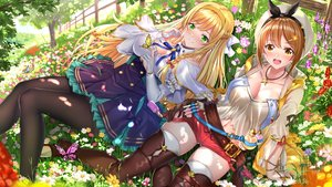 Rating: Safe Score: 54 Tags: 2girls atelier atelier_ryza blonde_hair blush braids breasts brown_hair butterfly cleavage dress flowers garter_belt grass green_eyes hat headband klaudia_valentz long_hair necklace pantyhose reisalin_stout short_hair shorts swordsouls thighhighs tree yellow_eyes zettai_ryouiki User: BattlequeenYume