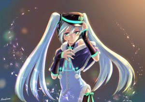 Rating: Safe Score: 62 Tags: aqua_hair hatsune_miku long_hair twintails vocaloid User: luckyluna