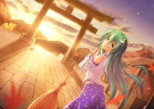 Rating: Safe Score: 30 Tags: autumn clouds green_eyes green_hair japanese_clothes kochiya_sanae leaves long_hair miko nullpuni sky sunset torii touhou User: RyuZU