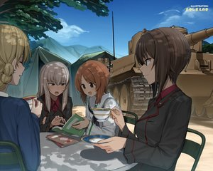 Rating: Safe Score: 33 Tags: blonde_hair book braids brown_eyes brown_hair clouds combat_vehicle darjeeling_(girls_und_panzer) drink girls_und_panzer gray_hair group itsumi_erika long_hair military nishizumi_maho nishizumi_miho shade short_hair sky tagme_(artist) uniform User: RyuZU