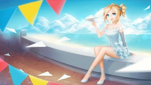 Rating: Safe Score: 164 Tags: aizawa_inori beach blonde_hair blue_eyes bow clouds dress internet_explorer paper pricey short_hair sky water windows wristwear User: Tensa