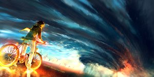 Rating: Safe Score: 116 Tags: all_male bicycle clouds male original rain scenic short_hair sky water watermark wenqing_yan_(yuumei_art) windmill User: Flandre93