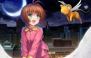 Rating: Safe Score: 35 Tags: brown_hair building card_captor_sakura city green_eyes kero kinomoto_sakura loli moon moonknives night pajamas short_hair wings User: gnarf1975