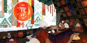 Rating: Safe Score: 26 Tags: all_male animal building dark_skin drink food japanese_clothes kitsune_(kazenouta) kotatsu male mouse original sake snow tail watermark User: FormX
