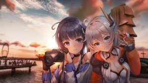 Rating: Safe Score: 30 Tags: black_hair blue_eyes breasts camera choker cleavage close gloves gray_hair group honkai_impact hoodie kiana_kaslana long_hair lunacle purple_eyes raiden_mei scenic sunset User: Dreista