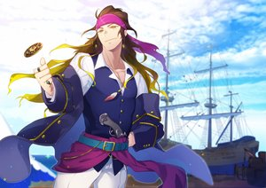 Rating: Safe Score: 5 Tags: all_male boat brown_hair clouds crise gun long_hair male original pirate pixiv_fantasia sky weapon yellow_eyes User: RyuZU