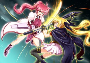 Rating: Safe Score: 53 Tags: 2girls blonde_hair blue_eyes diesel-turbo fate_testarossa long_hair mahou_shoujo_lyrical_nanoha mahou_shoujo_lyrical_nanoha_a's pink_hair red_eyes ribbons signum skirt sword thighhighs twintails weapon User: Maboroshi