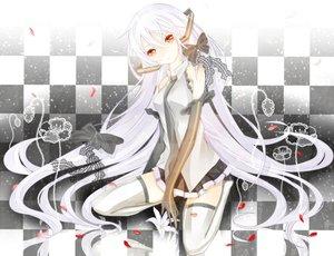 Rating: Safe Score: 132 Tags: gloves hatsune_miku long_hair red_eyes ribbons skirt thighhighs vocaloid white_hair yuna_(rutera) zettai_ryouiki User: Tensa