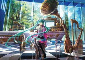 Rating: Safe Score: 258 Tags: aqua_eyes aqua_hair elbow_gloves fuji_choko gloves hatsune_miku headphones instrument long_hair piano reflection thighhighs twintails vocaloid User: FormX