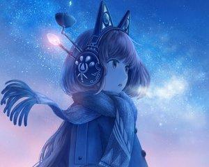 Rating: Safe Score: 68 Tags: animal_ears bou_nin brown_eyes brown_hair cropped headphones long_hair original scarf sky stars User: RyuZU