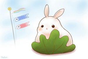 Rating: Safe Score: 27 Tags: animal blush daikichi_(pixiv13506351) food leaves original rabbit signed User: otaku_emmy