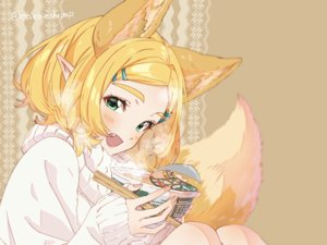 Rating: Safe Score: 17 Tags: 84k animal_ears blonde_hair blush brown close cropped fang food foxgirl green_eyes parody pointed_ears princess_zelda short_hair signed tail the_legend_of_zelda User: otaku_emmy