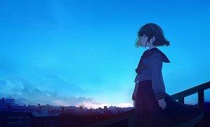 Rating: Safe Score: 36 Tags: black_eyes black_hair building city clouds mifuru original ruins scenic seifuku short_hair sky User: RyuZU