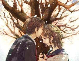 Rating: Safe Score: 20 Tags: brown_hair cherry_blossoms flowers kiss original petals school_uniform short_hair tie tree User: Tensa