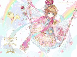 Rating: Safe Score: 45 Tags: animal bow brown_hair card_captor_sakura crown dress ekita_xuan flowers gloves green_eyes kero kinomoto_sakura petals rainbow short_hair tie wand watermark wings User: RyuZU
