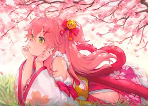 Rating: Safe Score: 71 Tags: bibimbub cherry_blossoms flowers green_eyes hololive japanese_clothes petals pink_hair sakura_miko User: Fepple