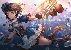 Rating: Safe Score: 50 Tags: blush boots brown_hair bubbles dress garter_belt gloves green_eyes moguta_(moguta9) necklace original snow_white underwater water User: BattlequeenYume
