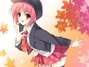 Rating: Safe Score: 34 Tags: akino_momiji autumn blush brown_eyes hat pink_hair sakura_musubi school_uniform short_hair skirt suzuhira_hiro thighhighs zettai_ryouiki User: Nightboyz