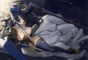 Rating: Safe Score: 14 Tags: armor black_hair blue_eyes dress hat long_hair moon original pupps sword thighhighs weapon User: FormX