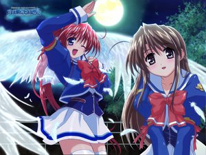 Rating: Safe Score: 3 Tags: 2girls amagasaki_mikoto angel blue_eyes bow brown_eyes brown_hair clouds feathers fujieda_honami leaves long_hair moon night ponytail red_hair skirt sky thighhighs tree tsuki_ha_higashi_ni_hi_ha_nishi_ni watermark wings wink User: Oyashiro-sama