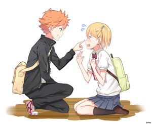 Rating: Safe Score: 23 Tags: blonde_hair blush haikyuu!! hinata_shouyou kenkaizar kneehighs male orange_hair school_uniform short_hair signed skirt white yachi_hitoka yellow_eyes User: RyuZU