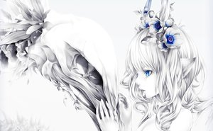 Rating: Safe Score: 63 Tags: animal_ears blue_eyes bouno_satoshi cropped flowers horns original polychromatic skull white User: kyxor
