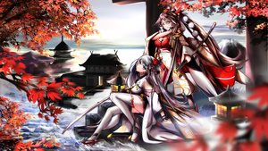 Rating: Safe Score: 23 Tags: 2girls anthropomorphism autumn azur_lane blue_eyes breasts brown_hair building cleavage clouds gray_hair japanese_clothes katana kimono leaves long_hair ponytail shoukaku_(azur_lane) sky sword tagme_(artist) thighhighs water weapon yellow_eyes zuikaku_(azur_lane) User: BattlequeenYume