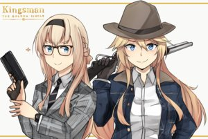 Rating: Safe Score: 15 Tags: 2girls aqua_eyes blonde_hair braids cosplay cowgirl glasses gun hat headband hms_warspite_(kancolle) iowa_(kancolle) kantai_collection kingsman long_hair parody suit tagme_(artist) tie weapon wristwear User: luckyluna