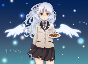Rating: Safe Score: 27 Tags: angel_beats! flowers food long_hair skirt tachibana_kanade white_hair wings yellow_eyes User: Tensa