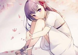 Rating: Safe Score: 69 Tags: dress fate_(series) fate/stay_night long_hair matou_sakura petals purple_eyes purple_hair xoaiu User: otaku_emmy
