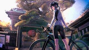 Rating: Safe Score: 141 Tags: ass bicycle bike_shorts black_eyes building gloves green_hair g-tz hat long_hair minami_kamakura_koukou_joshi_jitenshabu mori_shiki ponytail scenic shorts sky tree User: BattlequeenYume
