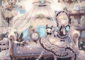 Rating: Safe Score: 67 Tags: blonde_hair blue_eyes bow bunny corset couch dress drink flowers headdress lolita_fashion long_hair original rose thighhighs yumeichigo_alice User: BattlequeenYume