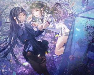 Rating: Safe Score: 57 Tags: 2girls flowers haduki_tohru long_hair original pantyhose petals school_uniform shoujo_ai wink User: FormX