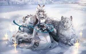Rating: Safe Score: 147 Tags: animal animal_ears arknights bell blue_eyes boots braids cape catgirl dress gray_hair headdress long_hair necklace pramanix_(arknights) ribbons signed snow snow_is tail winter User: Dreista