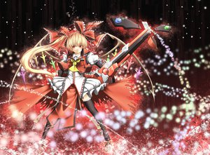 Rating: Safe Score: 47 Tags: blonde_hair cosplay crossover dress flandre_scarlet guilty_gear gun long_hair magic red_eyes ribbons thighhighs touhou vampire weapon wings User: Tensa