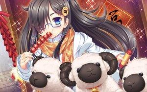 Rating: Safe Score: 49 Tags: 33paradox animal black_hair blue_eyes food glasses linxingzi long_hair original scarf sheep User: Flandre93