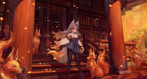 Rating: Safe Score: 53 Tags: animal animal_ears boots fire fox foxgirl gray_hair japanese_clothes long_hair miko original pantyhose red_eyes rope shrine stairs suzuno_(bookshelf) tail User: BattlequeenYume