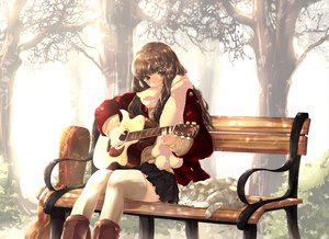Rating: Safe Score: 140 Tags: animal ayase_non brown_hair cat guitar instrument original thighhighs User: Wiresetc