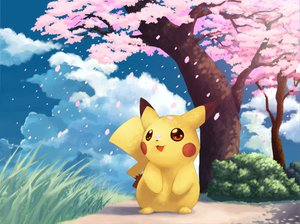 Rating: Safe Score: 91 Tags: cherry_blossoms flowers pikachu pokemon sky User: HawthorneKitty