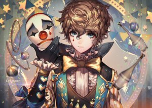 Rating: Safe Score: 111 Tags: all_male aqua_eyes ball blonde_hair bow cyphers gloves kawacy lysander male mask short_hair suit tattoo tie watermark User: luckyluna