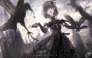 Rating: Safe Score: 78 Tags: animal apple228 bird building choker clouds dress elbow_gloves feathers gloves goth-loli gray_eyes headdress lolita_fashion necklace original pink_eyes sky User: mattiasc02