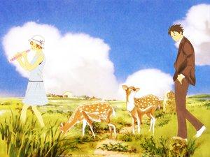 Rating: Safe Score: 6 Tags: animal chiaki_shinichi clouds dress grass hat instrument male nodame_cantabile noda_megumi sky suit User: Oyashiro-sama