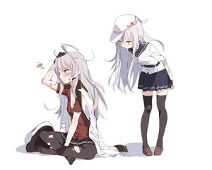Rating: Safe Score: 66 Tags: 2girls aliasing anthropomorphism blue_eyes blush cnm gangut_(kancolle) gray_hair hat hibiki_(kancolle) kantai_collection long_hair orange_eyes pantyhose scar seifuku shirt skirt thighhighs torn_clothes verniy_(kancolle) white User: Xirois