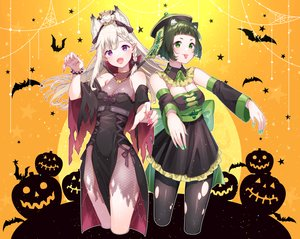 Rating: Safe Score: 47 Tags: 2girls aliasing animal animal_ears animare bat braids breasts chinese_clothes chitetan cleavage cosplay doggirl dress fang foxgirl gray_hair green_eyes green_hair halloween hashiba_natsumi ofuda pointed_ears pumpkin shiromiya_mimi short_hair silhouette torn_clothes vampire wristwear User: BattlequeenYume