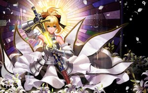 Rating: Safe Score: 181 Tags: armor artoria_pendragon_(all) blonde_hair fate_(series) fate/stay_night fate/unlimited_codes flowers green_eyes liang_xing saber saber_lily sword weapon User: Flandre93
