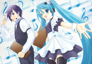 Rating: Safe Score: 34 Tags: hatsune_miku kaito maid male twintails vocaloid waitress User: 秀悟