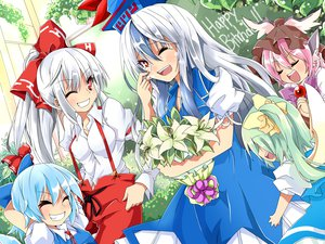 Rating: Safe Score: 20 Tags: aqua_hair blush bow cirno crying daiyousei dress fairy flowers fujiwara_no_mokou gray_hair green_hair group hat kamishirasawa_keine leaves long_hair mystia_lorelei pink_hair ponytail shijimi-sama shirt tears touhou white_hair wings wink User: HawthorneKitty